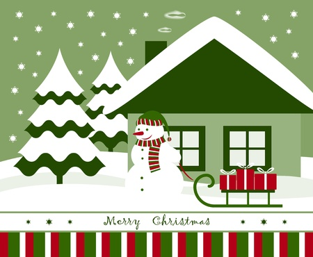 vector christmas card with snowman pulling sledge with gifts Stock Vector - 11093880