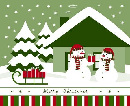 vector Christmas card with pair of snowmen Stock Vector - 11093882