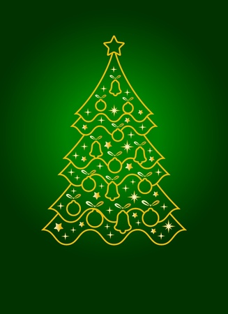 vector background with Christmas tree Stock Vector - 11134141