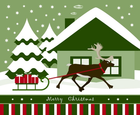 vector christmas card with reindeer pulling sledge with gifts Stock Vector - 11134142