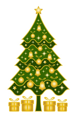 vector christmas tree and gifts on white background Stock Vector - 11134144