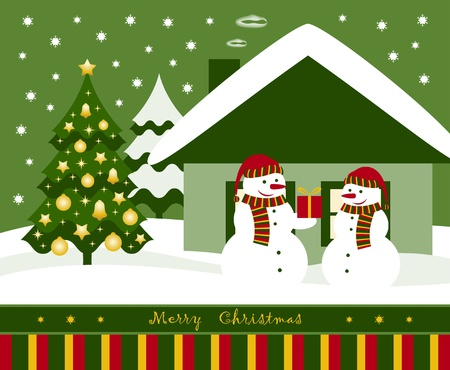 vector Christmas card with pair of snowmen Vector