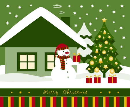 gold house: vector snowman, Christmas tree and gifts in front of house