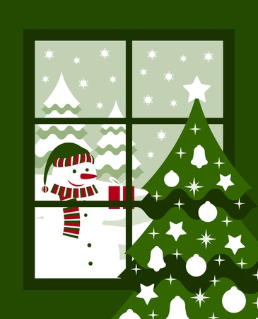 vector snowman and winter landscape outside the window Vector