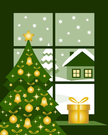 gold house: vector Christmas tree and gift at window Illustration