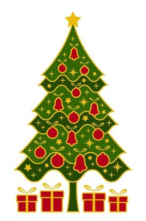 arbre     ? � feuillage persistant: vecteur de l'arbre de No�l et des cadeaux sur fond blanc