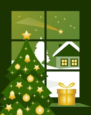vector christmas comet outside window Stock Vector - 11271674