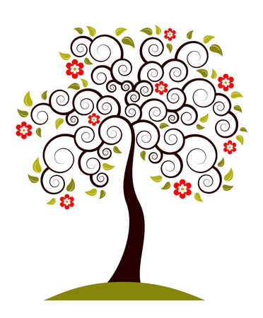 vector flowering tree on white background Stock Vector - 11349179