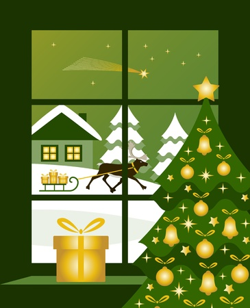 vector reindeer pulling sledge with gifts outside window Illustration