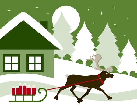 vector reindeer pulling sledge with gifts Stock Vector - 11348963