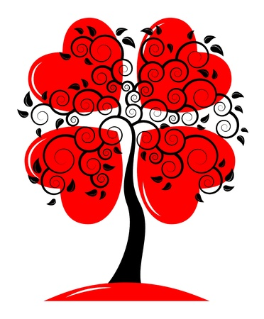 seasonal symbol: vector heart tree on white background Illustration