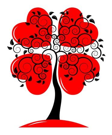 vector heart tree on white background Illustration