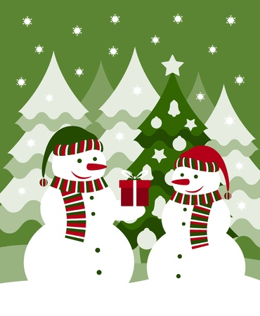 vector pair of snowmen and gift Stock Vector - 11580082