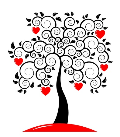 ornamental background: vector heart tree on white background Illustration