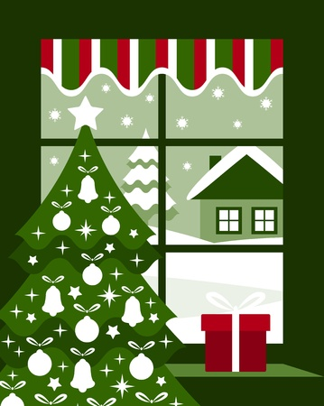 vector Christmas tree and gift at window Stock Vector - 11580080