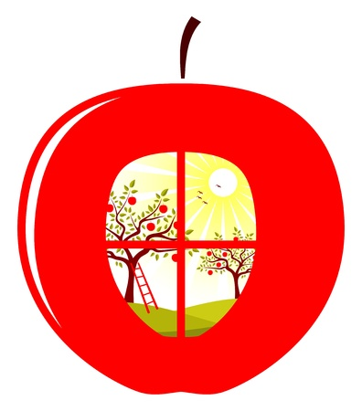 vector apple orchard in apple on white background Vector