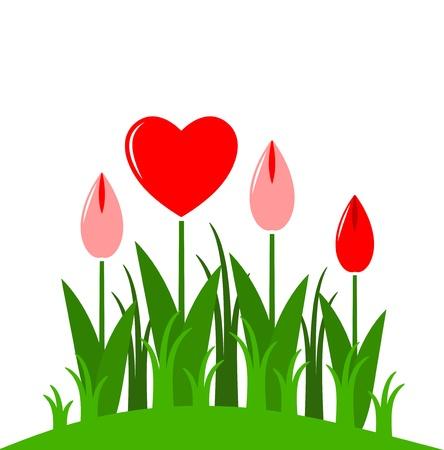 vector heart flowers on white background Stock Vector - 11661869