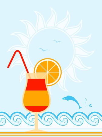 vector cocktail on beach Stock Vector - 11765154