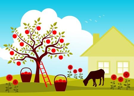 vector de cabra pastando en manzano huerto Vectores