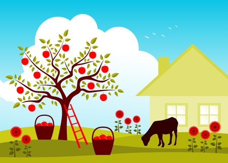 vector grazing goat in apple tree orchard