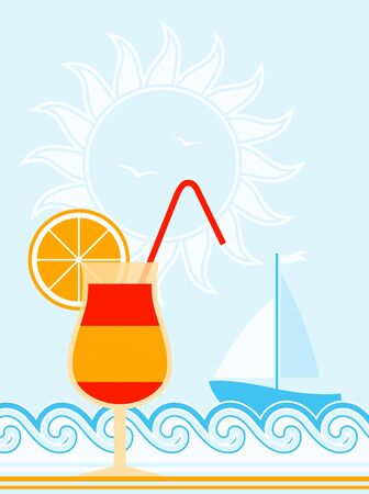 vector summer background with cocktail, waves and sailboat Stock Vector - 11765153
