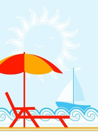 transat: fond avec chaise longue sous l'�gide sur la plage