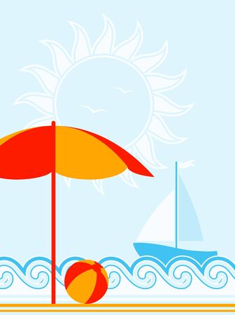 vector summer background with beach umbrella and ball Vector