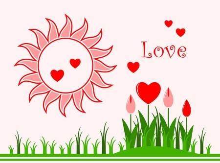 vector background with heart flowers in grass and sun Stock Vector - 11864655