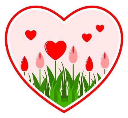 vector heart flowers in heart on white background Stock Vector - 11864656