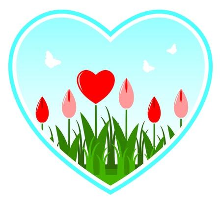 vector heart flowers in heart on white background Stock Vector - 11915302