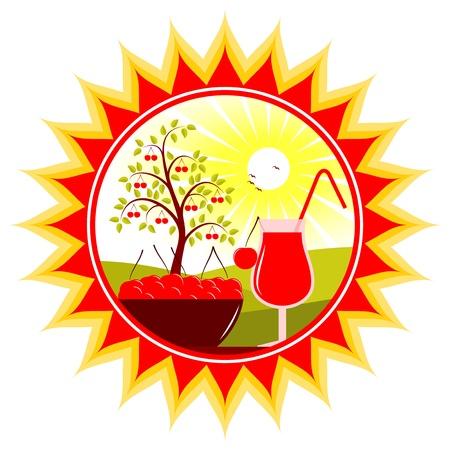 vector bowl of cherries and cherry juice in sun Stock Vector - 11944978