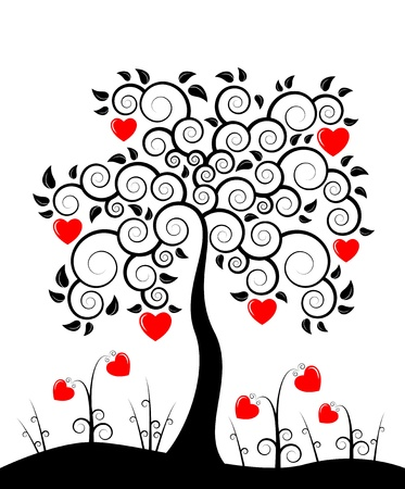 tree of life silhouette: vector heart tree and heart flowers on white background