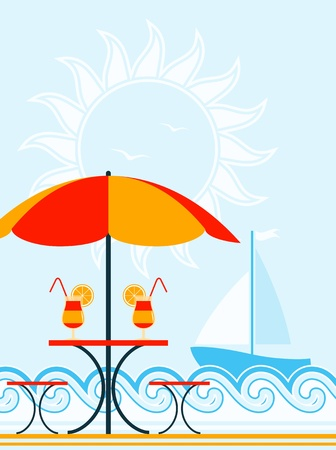 vector background with beach umbrella, drinks on table and sailboat Vector