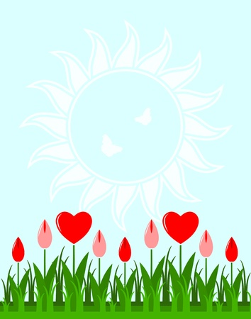 vector background with heart flowers in grass Vector