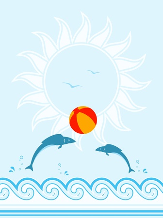 vector background with fishes playing with beach ball Stock Vector - 11944977