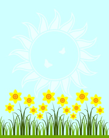 vector background with daffodils in grass Stock Vector - 11973693