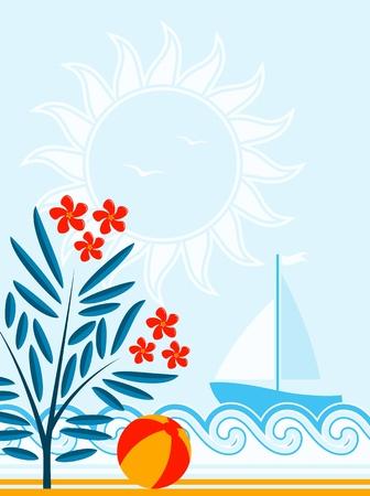 oleander: vector oleander, beach ball and sailboat floating on sea Illustration