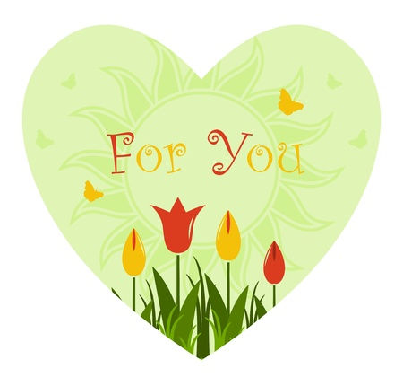 vector heart with tulips on white background Vector
