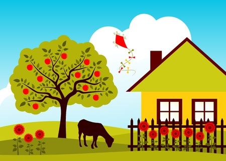 vector apple tree, goat and cottage with picket fence Ilustração