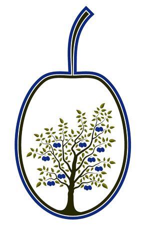 Vektor Pflaumenbaum in Pflaume auf weißem Hintergrund