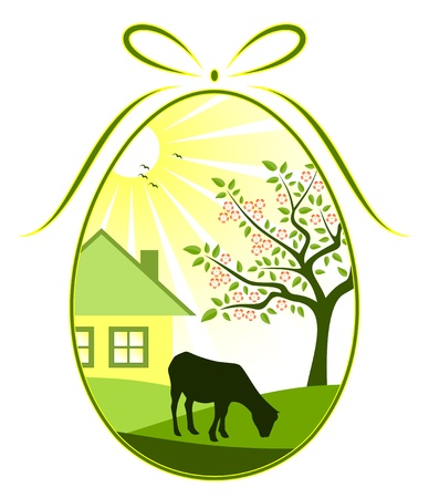 vector easter egg with rural landscape decor Vector