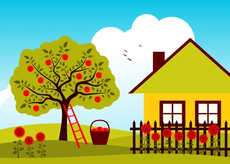 apple tree and cottage with picket fence 일러스트