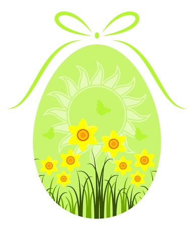 easter egg with daffodils and sun decor on white background Stock Vector - 12492119