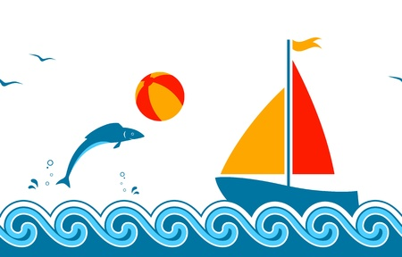 seamless border with fish playing with beach ball and sailboat floating on the sea Ilustração