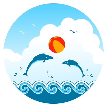 fishes playing with beach ball Vector