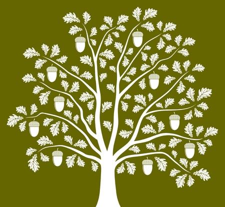seasonal: oak tree on green background