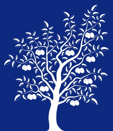 vector plum tree on blue background Vector