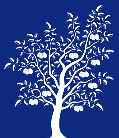 Vektor Pflaumenbaum auf blauem Hintergrund
