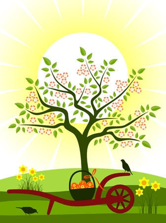 vector hand barrow with basket of easter eggs in orchard Stock Vector - 12773249