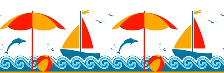 vector seamless border with beach umbrella and sailboat floating on the sea Vector